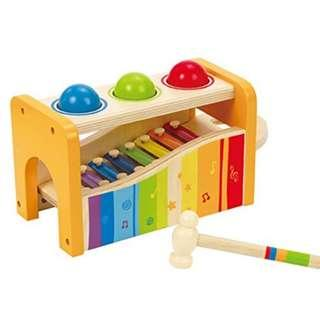BN Hape - Pound & Tap Bench with Slide Out Xylophone Musical Instrument Yellow, Rainbow
