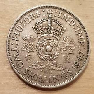 1947 Great Britain King George VI 2 Shillings (Florin) Coin