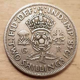 1948 Great Britain King George VI 2 Shillings (Florin) Coin