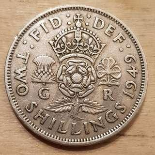 1949 Great Britain King George VI 2 Shillings (Florin) Coin
