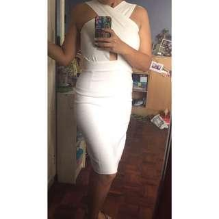 White Overlap Bodycon Dress