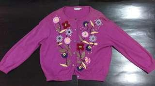 Max.co紫色花圖案針織外套連背心
