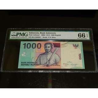 2000 Indonesia Bank Indonesia 1000 Rupiah Pick Unlisted PMG 66 EPQ Gem UNC