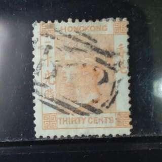 [lapyip1230] 香港 1863年 維多利亞 三十仙(朱紅色) CC水印 完美品 舊票 VFU
