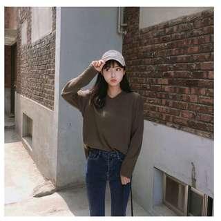 🚚 V領針織上衣 卡其色 gogosing 韓國網拍