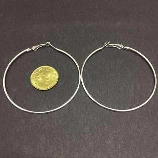 📌 [RS] 6cm Silver Hoop Earrings #subangjayaswap