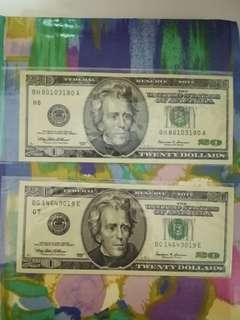 United States $20 1999 x 2