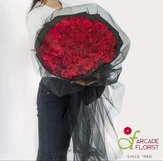 99 Stalks Red🌹Roses w/ Black Gauze (Fresh Flower Bouquet) | Rose Flower | Flower Bouquet | Flower | Flowers | Fresh Flower | Rose | Roses