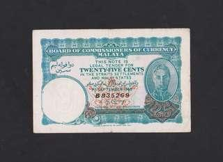 Malaya 25 cents 1940. selling Malaysia & Singapore notes