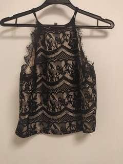 Black Lace Mid-drift top