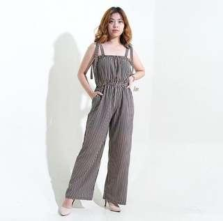 Black Vertical Striped Tube Tie Jumpsuit