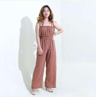 Maroon Vertical Striped Tube Tie Jumpsuit