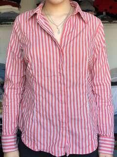Striped red button up