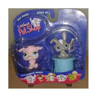 絕版 2004年 Hasbro LPS Littlest Pet Shop Pet Pairs Poodle and Grey Bunny 1款