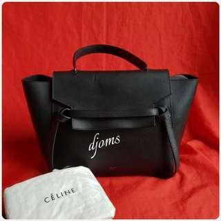 ✔Celine Mini Belt Bag Black Grained Leather Tote Bag