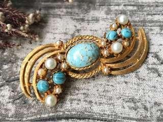 古董綠松石玻璃珍珠金色胸針