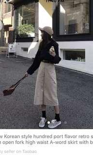 A line waist button down skirt