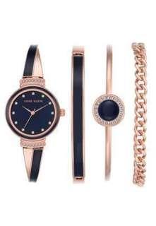 Anne Klein Women's Swarovski Crystal Accented Rose Gold-Tone/Navy