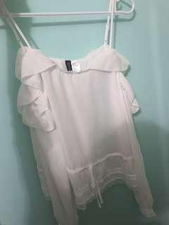 White detailed off the shoulder blouse