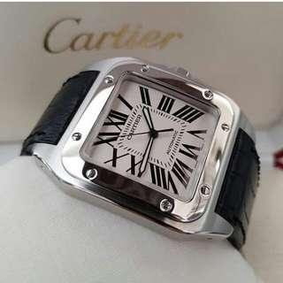 👉2012 CARTIER Santos 100 Black Croco LARGE g#O2