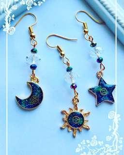 Sun, Moon and Star Galaxy Earring