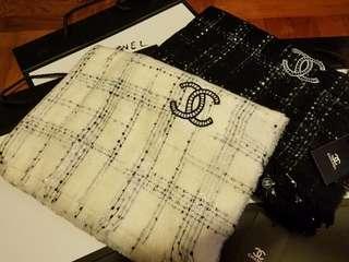 Chanel 白色經典紋頸巾 文青款 chanel lv gucci