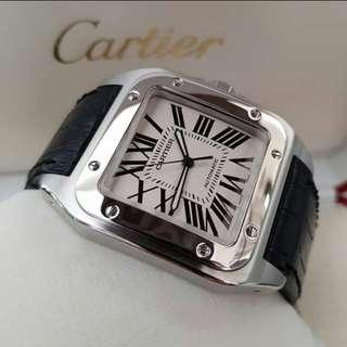 👉2006 CARTIER Santos 100 Black Croco XL #d2e