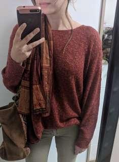 Zara rust lightweight oversized knit sweater