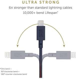 -1411-Native Union Night Cable - 10ft Ultra-Strong Reinforced [Apple MFi Certified] Lightning to USB Charging Cable with Weighted Knot for iPhone/iPad (Marine)