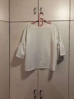 Spandex white blouse size Large