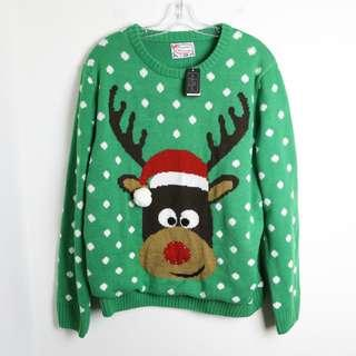 Ugly Christmas Sweater green knit reindeer plus size 2x