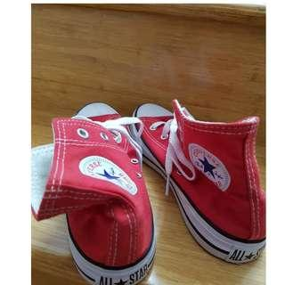 Converse red hi-tops size 8