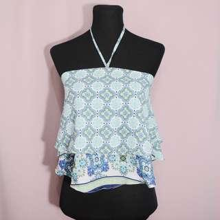 Blue/green printed backless top