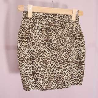 Leopard print bandage skirt