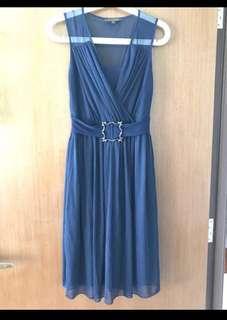 🛍 Fond Navy Blue Chiffon Dress