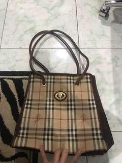 """Repriced!! """"Burberry"""" vintage leather & suede bag"""