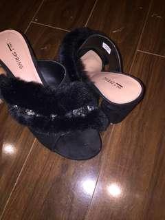 Cute Call it spring black faux fur heels!!