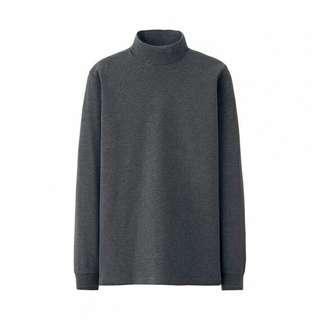 UNIQLO Men Soft Touch Cotton Mocneck Long Sleeve (Gray XL)