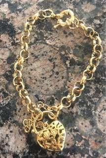 Gold plated heart bracelet