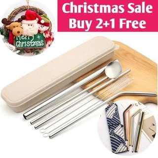 Christmas Sales-Food Grade 304 Stainless Steel Straw Set/7 colors