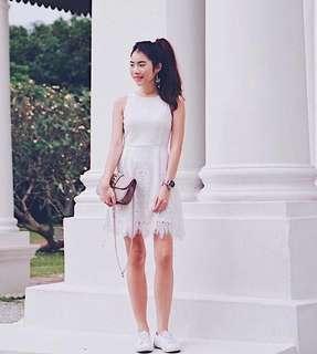 🚚 White Crochet Dress