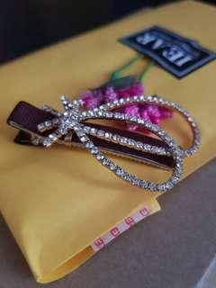 Korean Style Diamond Hair Clip in Brown