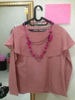 Atasan Pink Cantik + Free kalung kayu Pink
