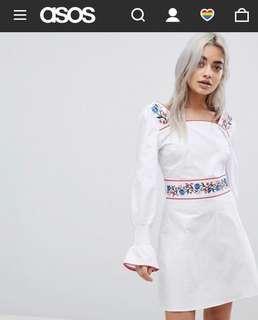 BNIB ASOS PETITE TEA EMBROIDERY DRESS