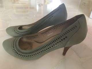 Light green leather heels