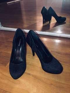 Call it Spring black platform heels // Size 8.5