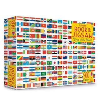 Usborne Flags of the world colouring book and jigsaw box gift set