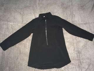 Black zipper tunic top
