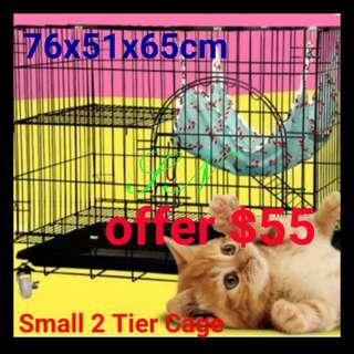 Cat Cage 2 Tier Pet Cage  Rabbit Kitten Poppy Cage Collapsible Cage Foladble Cage