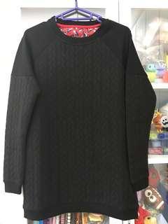 韓款辮子紋黑色衛衣